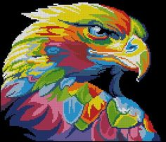 Cross Stitch Art, Cross Stitch Animals, Cross Stitching, Cross Stitch Embroidery, Cross Stitch Patterns, Hama Beads Patterns, Beading Patterns, Pixel Art Templates, Colorful Animals