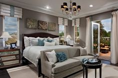 Dark Wall Color Scheme and Abstract Wall Art in Contemporary Bedroom Ideas