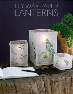 Want to add creative DIY touches to your wedding or outdoor gathering? Try making these DIY Wax Paper Lanterns with custom touches that's all your own! Diy Projects To Try, Craft Projects, Craft Tutorials, Fun Crafts, Diy And Crafts, Wax Paper Crafts, Creative Crafts, Diy Luminaire, Paper Light