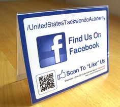 """Here's a new shot of our popular Facebook Table Tents! The ORIGINAL """"FollowMeSticker"""" brand! Features custom username (in this case, USTA) and custom generated trackable QR code. Made from sturdy plastic and sticker inserts!"""
