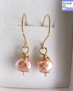 Pink Freshwater Pearl Earrings,Gold filled Pearl Earrings, Bridesmaid Earrings, Bridal Jewelry,