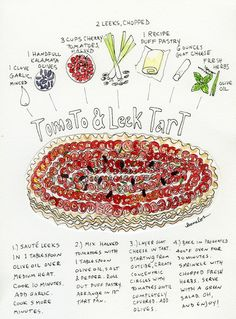 Isn't this a pretty recipe? And delicious too - HiP Paris Blog Tomato Leek Tart, drawing by Jessie Kanelos