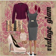 CAbi Vintage Splendor Fall 2013: Britt Jacket, Ponte Bustier & Seamed Pencil Skirt color Gravel and Skinney Belt. Pair with to die for accessories and you've got Hollywood Glam! by www.heathermobley.polyvore.com