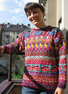Kaffe Fassett sampler sweater, made by pletynka on Ravelry