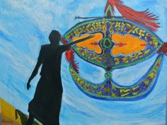 Malaysian kite called Wau (pronouced Wow), a heritage of the east coast.The kite competiton is a serious undertaking by adults. Painting by Haziq Izmi, an autistic artist.