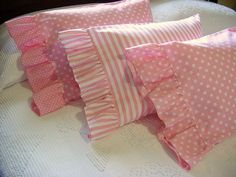 Ruffled Boudoir Pillow Case - Travel Lumbar Toddler Pillowcase Cover - An Array of Pink Polka Dots & : Ruffled Boudoir Pillow Case – Travel Lumbar Toddler Pillowcase Cover – An Array of Pink Polka Dots & Soft Pillows, Throw Pillows, Lumbar Pillow, Homemade Pillow Cases, Baby Doll Bed, Bitty Baby Clothes, Toddler Pillowcase, Fourth Of July Decor, Pink Polka Dots