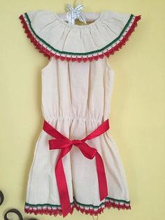 Mexican dress tricolor green red beige mexican party day of the dead cinco de mayo traditional frida kahlo girls summer mexican fashion