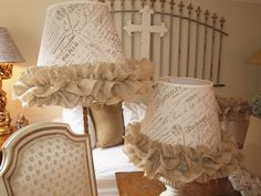 French script and burlap lamp shades.