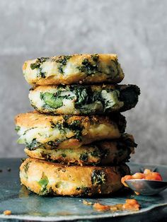 Kale Potato Pancakes from Victuals by Ronni Lundy photographed by Johnny Autry…