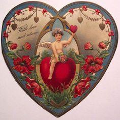 Old Vintage Valentine Card Homemade Valentines Day Cards, Valentines Day Post, Valentine Cupid, Valentine Images, Valentines Greetings, Valentine Greeting Cards, My Funny Valentine, Vintage Valentine Cards, Vintage Greeting Cards