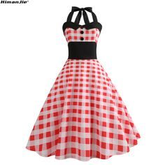 Sexy Pin Up Girls Halter Dress plaid Print swing slim waist backless  patchwork vintage Women Retro Party Retro Dresses e34ca0b43ae4