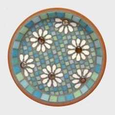 Pastel White Daisy Garden Yard Mosaic Bird Bath by JoSaraUK