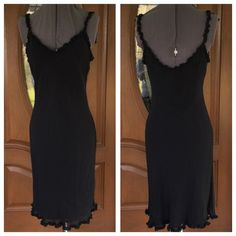 """💃LILY Black Dress LILY Black Dress.  Ruffle straps and hemline.  Fully lined.   Black polyester material.   Length 39"""" (shoulder to hem).  Great condition.  Size:  Petite Large Lily Dresses"""