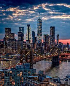 New York City at dusk . New York City at dusk Nyc Skyline, New York City Skyline, Manhattan Skyline, Manhattan New York, Lower Manhattan, New York Trip, New York City Travel, New York Photography, City Photography
