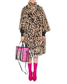 B44S8 Balenciaga Leopard-Print Faux Fur Opera Coat