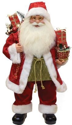 """24"""""""" Modern Standing Santa Claus Christmas Figure with Presents and Drum"""