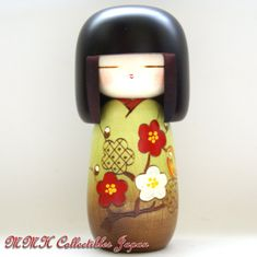 Lovely Japanese Creative Kokeshi Doll by Masae Fujikawa - KOZUE (TREETOP), GREEN - MMH Collectibles Japan