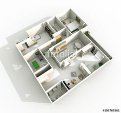3d interior rendering of oblique perspective view of furnished home apartment