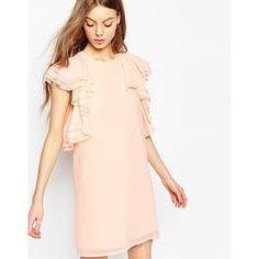 ASOS Ruffle Mini Shift Dress (1,810 THB) ❤ liked on Polyvore featuring dresses, nude, pink dress, ruffle dress, zipper dress, layered ruffle dress y asos dresses