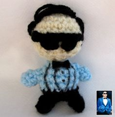 Gagnam style free crochet keychain pattern...okay so not him exactly but a little person to crochet to start me off - MADE THIS: Perfect starting pattern for any little person you want to make, not just this dude. THANK YOU to whoever posted because I use it for all my little people haha