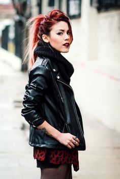 long red shirt -THE perfect black leather jacket