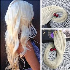Moresoo 20 Inch Tape in Remy Human Hair Extensions Platinum Blonde Color #60 Unprocessed Real Human Hair Seamless Skin Weft Adhesive Hair Extensions 20pcs/50g:   If you want easy, mess free and durable extensions without emptying your wallet, Moresoo/btape in hair extensions is the best choice for you! Our tape in extensions is made with 100% human hair and premium hypoallergenic tape adhesive that is strong, safe and non-damaging. brbr Details of hair :/bbr Hair Material: Remy Human H...