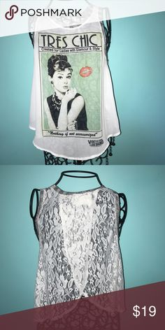 Audrey Hepburn Top Blouse material with Audrey picture on front with lace overlapping design in back.  Looks great over bandeau and high-waisted shorts for summer.  Great Condition.  Open to offers ☺️ Tops Tank Tops