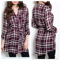 LAST ONE!!! HELLO PREPPY Plaid Tunic/dress - S Adorably girly plum colored plaid flannel tunic/shirt dress features button up closure, long sleeves & removable self-tie belt at waist. Has tabs at elbow to secure rolled up sleeves, or you can wear them down as long sleeves.  I love mine & received compliments every single tine I wear it. Only 1 left in small. All other sizes have been sold. Tops Tunics