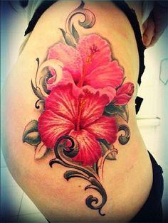 Gorgeous Yet Delicate Flower Tattoo Designs Hibiscus Flower Tattoos, Delicate Flower Tattoo, Flower Wrist Tattoos, Flower Tattoo Designs, Tattoo Designs Men, Neue Tattoos, Body Art Tattoos, Sleeve Tattoos, Cool Tattoos