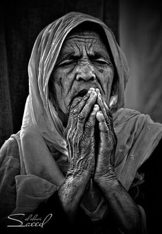 Faces of Old People in Black and White Photography