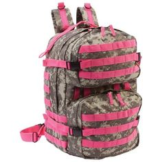 ExtremePak Digital Camo Water-Resistant, Heavy-Duty Backpack Features multiple zippered pockets including interior mesh pocket, padded back, adjustable shoulder straps and heavy-duty buckles with pink webbing. Measures x x Tactical Backpack, Hiking Backpack, Backpack Bags, Tote Bag, Pink Camo Backpack, Hunting Bags, Outdoor Backpacks, Digital Camo, Hunting Accessories