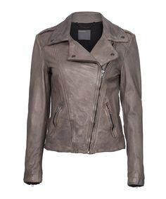 Athena brown leather biker jacket Sale - Muubaa