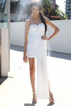Hot Sale White Chiffon Hem Attached Strapless Vintage Dress Sun Floral Dresses