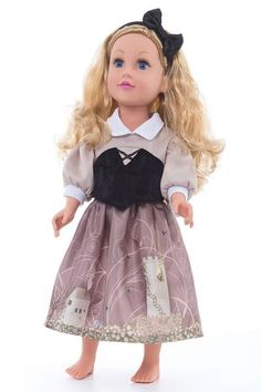 This perfect match to our Sleeping Beauty Dress has a knit top, black velvet bodice, and chocolate china silk skirt with whimsical detailings. This set includes the black satin bow to complete her look. Just don't go touching any spinning wheels! Machine washable and play friendly. Doll or plush not included.