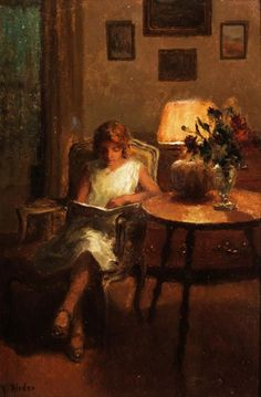 Marcel Rieder (French, Oil on board. Rieder studied at the… Marcel, People Reading, Book People, Reading Art, Woman Reading, Art Aquarelle, Old Paintings, Classic Paintings, World Of Books