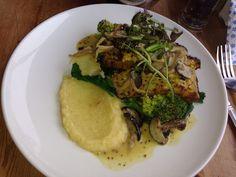 Nut loaf, parsnip purée and veggies, Hundred Monkeys, Glastonbury