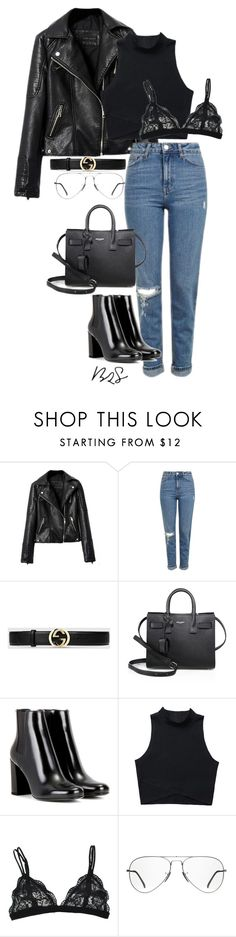 """#768"" by blendingtwostyles ❤ liked on Polyvore featuring Topshop, Gucci, Yves Saint Laurent and Ray-Ban"