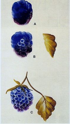 Moras y hojas./ One stroke painting by cynthia gouache painting China Painting, Tole Painting, Fabric Painting, Painting & Drawing, Watercolor Paintings, Face Paintings, Gouache Painting, Donna Dewberry Painting, Learn To Paint