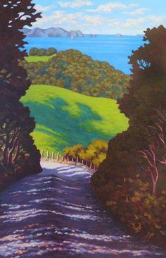 The Steep Corner by Rachel Olsen. Original art work available from The Little Art Gallery, Tairua, Coromandel, NZ Nz Art, Art For Art Sake, Contemporary Artwork, Contemporary Artists, Cute Sketches, New Zealand Art, Maori Art, Kiwiana, Beach Art