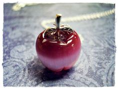 Tiny Red Apple 3D Charm Necklace in Fiber Optic & Sterling Silver with a Delicate 18 Inch Sterling Silver Cable Chain