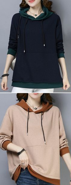 Amazing Casual Patchwork Knit Long Sleeve Hoodie for Women on Newchic f031c7192
