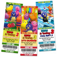 Colorful and fun Backyardigans invitations for your child's birthday celebration.  These invites can be personalized with your party information.  There are other invitations designs available as well as many other custom party items.