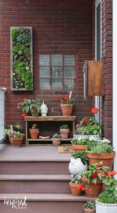 Summer Porch Decorating Ideas / Terra Cotta Pot, Potting Bench, Vertical Planter, and more!