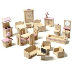 This magnificent 22 piece dolls house furniture set fits beautifully into the Daisy Dolls House. You can't go past a traditional dolls house and accessories for hours of creative play and endless fun.