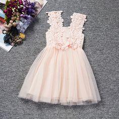 9ebf831ecb09a Mignon été fleurs Fille fête de mariage solide princesse Robe enfants  vêtements Robe Fille Enfant 3