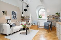 modern attic living room