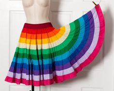 A personal favorite from my Etsy shop https://www.etsy.com/listing/251181176/vintage-rainbow-color-dancing-skirt