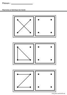 GÉOMÉTRIE ET OBSERVATION - reproduis le dessin de façon identique, dans la grille.