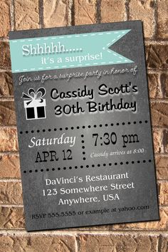 10 Color Choices Surprise Party Chalkboard Invitation with free Thank You 21st 30th 40th 50th 60th Birthday Printable Digital on Etsy, $10.00