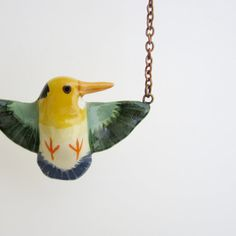 yellowbilled kingfisher necklace by HandyMaiden on Etsy